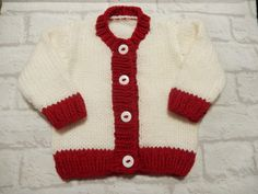 hand knit baby sweater / hand knit cardigan / white & red cardigan / 3-6 month sweater / boys cardigan / girls sweater by Icklepickleknitwear on Etsy