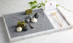 Zen Garden | Matcha opera cake, jasmine macaron, passion fruit marshmallow, coconut dark chocolate by chef Vicky Lau. - See more at: theartofplating.c...