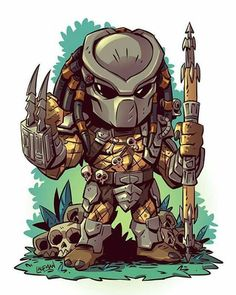 Predator - the art of Derek Laufman Cartoon Kunst, Comic Kunst, Cartoon Drawings, Cartoon Art, Cartoon Characters, Comic Art, Chibi Marvel, Marvel Art, Chibi Superhero
