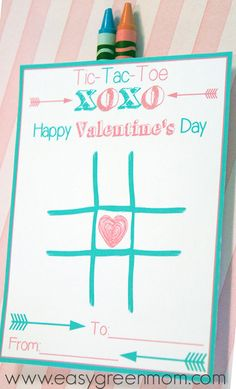FREE PRINTABLE! Tic-Tac-Toe Valentine's Day Card. Paired with Crayons for a great classroom Valentine!