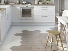 Kitchen floor tile - wood Tile Transition To Hardwood Küchen Design, Floor Design, Tile Design, Design Ideas, Carpet Design, Interior Design, Creative Design, Kitchen Tiles, Kitchen Flooring