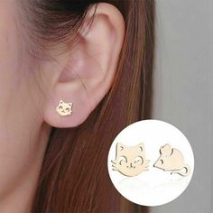 Stainless Steel Cat and Mouse Earrings Studs Unique Kitty Face Animal Jewelry #Unbranded #Stud