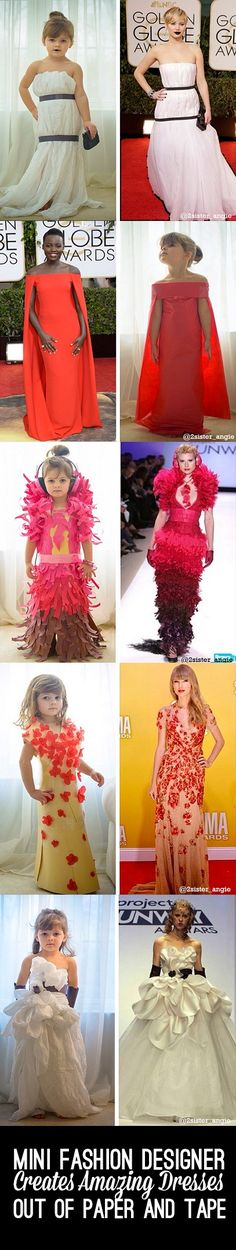 Amazing dresses made by mini fashion designer out of paper and tape