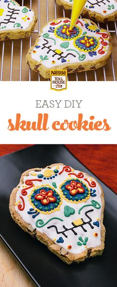 Looking for a fun, easy recipe to help you celebrate the tradition of Dia de los Muertos? Try these Skull Cookies, made from NESTLÉ® TOLL HOUSE® Refrigerated Chocolate Chip Cookie Bar Dough. From fun and simple to stunning and intricate, these treats can be decorated however you like. Add some festivity to your celebrations with a batch of Skull Cookies. See how they're made here, and get ready to decorate your own!