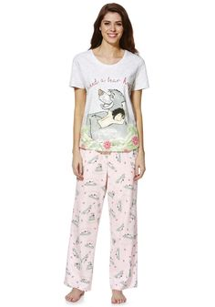 <li><p>Featuring your favourite Mowgli and Baloo characters from The Jungle Book, this pure cotton pyjama set from Disney is great for refreshing your nigtwear collection.With an I Need A Bear Hug slogan on the front of the t-shirt and a Mowgli and Baloo print, the pyjama set is complete with co-ordinating all-over printed bottoms and a ribbon tie fastening at the waistband.</p><p>Crew neck short sleeve top</p><p>Full length bottoms pull on with an elasticated waistband</p></li>