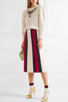 Off-white, midnight-blue and red wool and silk-blend crepe Concealed hook and zip fastening at side 51% wool, 49% silk; lining: 71% acetate, 29% silk Dry clean Made in Italy