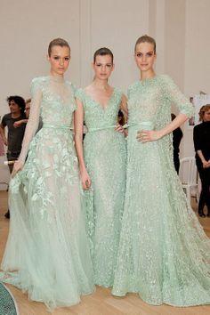 Gorgeous Elie Saab mint dresses, perhaps an inspiration for your bridesmaids.
