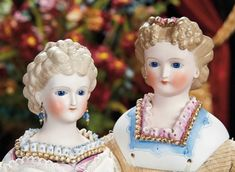 The Lifelong Collection of Berta Leon Hackney: 57 German Bisque Glass-Eyed Lady with Sculpted Hair, Decorated Bodice by C.F. Kling
