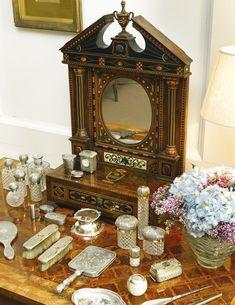Vintage Dressing Tables, Dressing Table Set, Antique Vanity, Vintage Vanity, Dresser Sets, Dresser Table, Antique Perfume Bottles, European Paintings, Vanity Set