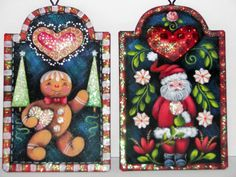 Painting Folk Art Pieces with patterns that anyone can paint. These folk art patterns are by Rosemary West. Painting Words, Painting Lamps, Tole Painting, Fabric Painting, Rosemary West, Gingerbread Ornaments, Xmas Lights, Christmas Cactus, Country Paintings