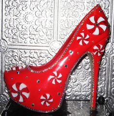 Items similar to red patent heels with peppermints, AB crystal rhinestones and glittered soles on Etsy Platform Stilettos, Stiletto Pumps, Patent Heels, Red Glitter Shoes, Muses Shoes, Christmas Shoes, Red Pumps, Crystal Rhinestone, Peppermint