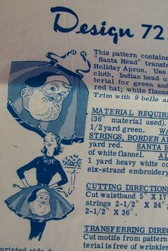 Jingle bells on the apron strings!!!  VTG 50s Holiday SANTA HEAD APRON Mail Order Embroidery Applique Transfer Pattern