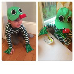 Kids frog costume. Felt, hot glue.  Easy, comfortable, DIY.