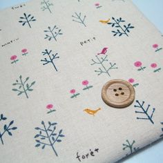 Q Japanese Cotton Linen Fabric - Bird and Tree - Pink