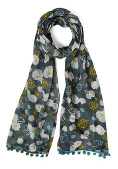 All the World's a Garden Scarf. With the world at your feet, and this sheer, slate-colored scarf by Disaster Designs atop your outfit, the possibilities for adventure are endless. #grey #modcloth