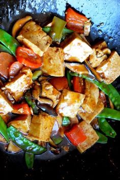 This quick and easy braised tofu recipe (hongshao dofu) is authentic and is easily made vegetarian just by using vegetable stock and vegetarian oyster sauce Vegetarian Recipes, Cooking Recipes, Healthy Recipes, Cooking Tips, Braised Tofu Recipe, Vegan Recepies, Tofu Dishes, Asian Cooking, Gourmet