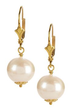 14K Yellow Gold Plated Sterling Silver 10-11mm Cultured Pearl Drop Earrings