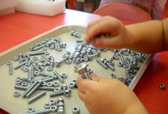 Matching nuts and bolts - seems very montessori-like. great for fine motor skills and learning smaller/larger Motor Skills Activities, Activities For Boys, Gross Motor Skills, Montessori Activities, Preschool Activities, Preschool Art, Practical Life, Trouble, Finesse