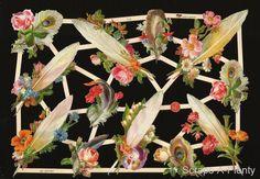 German Victorian Style Embossed Scrap Die Cut - Flowers & Feathers NICE  EF7419