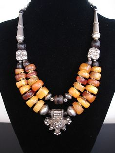 Stunning+Antique+Moroccan+Fossil+Amber+Black+Coral+by+GEMILAJewels,+$1285.00
