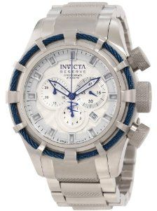 Invicta Men's 11038 Bolt Reserve Chronograph Silver Textured Dial Watch Invicta. $325.80. Silver dial with blue hands and silver tone hour markers; luminous; stainless steel bezel with blue twisted wire accent. Swiss quartz movement. Chronograph functions with 60 second, 30 minute and 1/10 second subdials; date function. Water-resistant to 200 M (660 feet). Flame-fusion crystal; stainless steel case and bracelet with textured center links