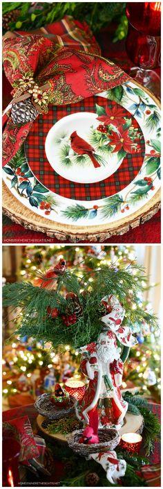 Christmas Lodge, Tartan Christmas, Christmas China, Whimsical Christmas, Nordic Christmas, White Christmas, Christmas Tree, Christmas Candles, Thanksgiving Table Settings