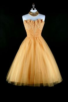 vintage 1950's dress Marigold yellow tulle