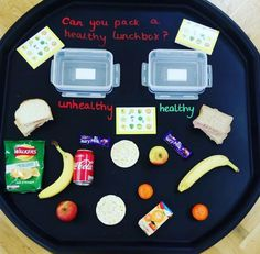 Healthy or Unhealthy? Tuff Tray Activity. EYFS continuous provision.