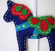 Dark Blue Dala Horse Wall Hanging by lova revolutionary, via Flickr