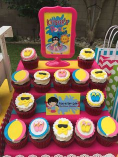 Fondant topped cupcakes at a swimming birthday party! See more party ideas at CatchMyParty.com!