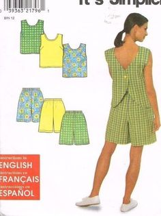 Simplicity 8203 Sewing Pattern Shorts Summer Top Sizes 10 to 20 1998 Uncut