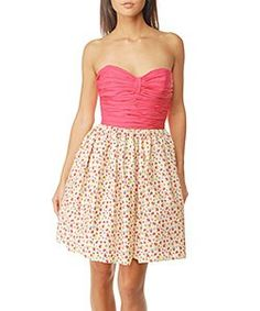Washed Floral Woven Cotton Teen Vogue Strapless Dress