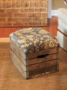 Vintage milk crates can be found online and at antique stores and flea markets. Jennifer from Decorating Ideas Made Easy turned her vintage milk crate into an adorable ottoman with rustic charm.