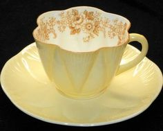 Shelley Dainty Daisy Fawn Yellow Tea Cup and Saucer