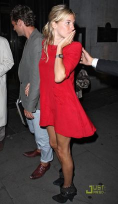 great red dress on Sienna Miller.