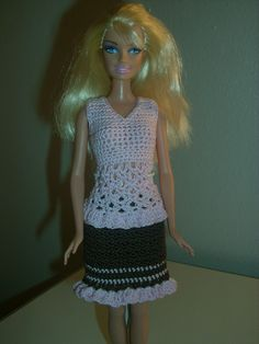 Crochet for Barbie (the belly button body type): Pink Ruffle Sleeveless Top