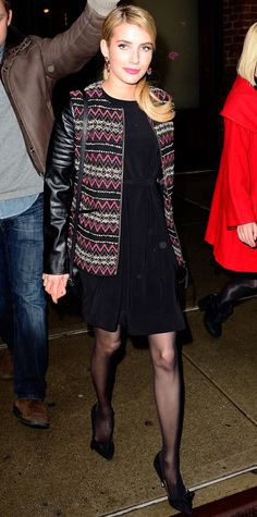 20 Chic Celebrity Looks That Have Us Saying Yes to Tights - Emma Roberts from #InStyle