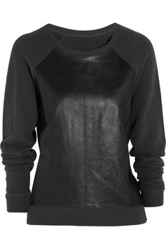 R13|leather-paneled cotton sweater