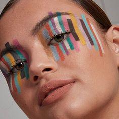 Creative Eye Makeup, Colorful Eye Makeup, Eye Makeup Art, Makeup Inspo, Makeup Inspiration, Unique Makeup, Face Paint Makeup, Long Lasting Eyeliner, Crazy Makeup