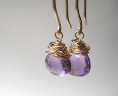 Amethyst & Gold Drop Earrings by FinchandFlower on Etsy, $26.00