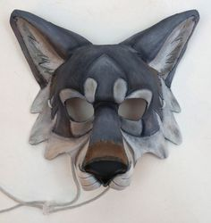 Leather Gray Wolf Mask Timber Wolf Mask Artic Wolf Mask - Bamboo Under Wear Cardboard Mask, Cardboard Sculpture, Animal Masks, Animal Heads, Halloween Cosplay, Halloween Costumes, Plague Mask, Glove Puppets, Wolf Mask