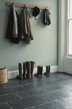 Flooring for back hall. Soft green walls w/ Silver Blue slate Slate Flooring, Best Flooring, Kitchen Flooring, Slate Tiles, Slate Floor Kitchen, Gray Tiles, Kitchen Dining, Dining Room, Paint Shades