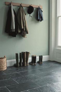 Flooring for back hall. Soft green walls w/ Silver Blue slate Flooring, Green Wall, Decor, Best Flooring, House Interior, Slate Flooring, Wall Colors, Home, Green Interiors