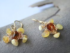Baltic AMBER BLOSSOM Earrings Milky White Amber Gold by YLOjewelry, $39.00