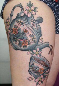 Tea pot and cup tattoo Girly Tattoos, Dream Tattoos, Pretty Tattoos, Future Tattoos, Leg Tattoos, Beautiful Tattoos, Body Art Tattoos, Sleeve Tattoos, Cool Tattoos