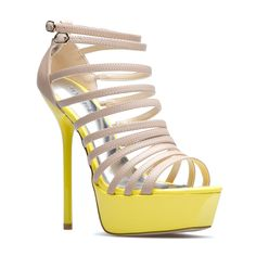 This ravishing colorblocked sandal offers a Kaskade of delicate straps, replete with a glossy stiletto heel.    WEAR TO crank up the heat at a poolside cabana.     ACCESSORIZE with a metallic choker and dramatic animal-motif cocktail ring.     FOR DAY: Kaskade amps up a lacy camisole and pastel pencil skirt.