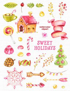 Vacanze dolce. Clipart dell'acquerello Natale caramelle