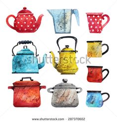 Vector set of different dishes in watercolor style. Teapots, cups, Tea kettles in different colors. Watercolor painting.