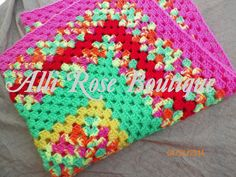 Crochet Granny Square Blanket  Crochet  Granny by AlliRoseBoutique