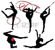 gymnastique rythmique: Gymnastique rythmique silhouette sur fond blanc